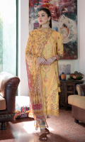 Shirt FULL EMBROIDERED FRONT DIGITAL PRINTED BACK AND SLEEVES EMBROIDERED DAMAN BORDER  Dupatta DIGITAL PRINTED CHIFFON DUPATTA  Trouser LACQUER PRINTED CAMBRIC TROUSER