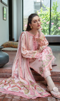 Shirt FULL EMBROIDERED FRONT BLOCK PRINTED SLEEVES BLOCK PRINTED BACK EMBROIDERED DAMAN BORDER  Dupatta BLOCK PRINTED CHIFFON DUPATTA  Trouser CAMBRIC TROUSER