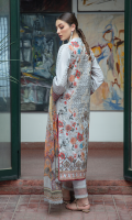 Shirt FULL EMBROIDERED FRONT DYED SLEEVES DIGITAL PRINTED BACK EMBROIDERED DAMAN AND SLEEVES BORDER  Dupatta DIGITAL PRINTED CHIFFON DUPATTA  Trouser CAMBRIC TROUSER