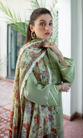 Shirt SCHIFFLI EMBROIDERED FRONT EMBROIDERED BACK AND SLEEVES  Dupatta DIGITAL PRINTED SILK DUPATTA  Trouser CAMBRIC TROUSER
