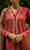 Embroidered Jacquard Shirt Front with Sleeves Border Dyed Jacquard Sleeves Dyed Jacquard Shirt Back Digital Printed Jacquard Shawl Dyed Trouser