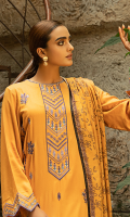 Embroidered Jacquard Shirt Front Dyed Jacquard Sleeves Digital Printed Back Digital Printed Jacquard Shawl Dyed Trouser Embroidered Daman Border Embroidered Sleeves Border