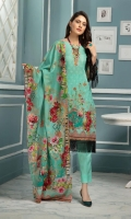 Digital Twist Embroidered Lawn Lawn Dupatta Plain Trouser