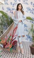 Embroidered Chikenkari Lawn Shirt Chiffon Dupata Plain Trouser
