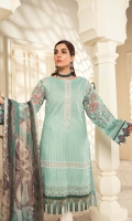 Printed Lawn Shirt Dyed Cambric Trouser Printed Chiffon Dupatta Embroiodered Neckline Organza Embroidered Sleeves Border Organza