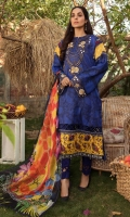 Printed Lawn Shirt Dyed Cambric Trouser Printed Chiffon Dupatta Embroiodered Neckline Organza Embroidered Border Organza