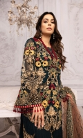 Embroidered Chiffon Front 0.8 MTREmbroidered Chiffon Back 0.8 MTREmbroidered Chiffon Sleeves 0.66 MTR Embroidered Net Dupatta 2.5 Yard Dyed Raw silk Trouser 2.5 Yard Embroidered Motifs For Sleeves...