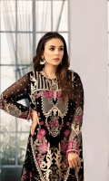 Embroidered Chiffon Front 0.8 MTREmbroidered Chiffon Back 0.8 MTREmbroidered Chiffon Sleeves 0.66 MTR Embroidered Chiffon Dupatta 2.5 Yard Embroidered Raw silk Trouser 2.5 Yard