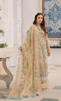 Embroidered With Hand embellished Chiffon Front 0.8 MTREmbroidered Chiffon Back 0.8 MTREmbroidered Chiffon Sleeves 0.66 MTR Embroidered Cut Work Panel 0.66 MTR Embroidered Net Dupatta 2.5 Yard Dyed...