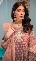 EMBROIDERED ORGANZA FRONT 0.8MTREMBROIDERED ORGANZA BACK 0.8MTREMBROIDERED ORGANZA SLEEVES 0.66MTREMBROIDERED SLEEVES MOTIFS 2PCEMBROIDERED NET DUPATTA 2.5YARDEMBROIDERED DUPATTA PALLU 2.25MTREMBROIDERED DUPATTA PATTI 7MTREMBROIDERED FRONT AND BACK BORDER 1.5MTREMBROIDERED SLEEVES BORDER 1MTRHAND...