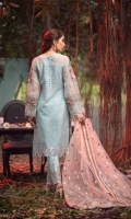 EMBROIDERED ORGANZA FRONT 0.8MTREMBROIDERED ORGANZA BACK 0.8MTREMBROIDERED ORGANZA SLEEVES 0.66MTREMBROIDERED SLEEVES MOTIFS 2PCEMBROIDERED NET DUPATTA 2.5YARDEMBROIDERED DUPATTA PALLU 2.25MTREMBROIDERED FRONT AND BACK BORDER 1.5MTREMBROIDERED SLEEVES BORDER 1MTRHAND EMBELLISHED NECKLINE 1PCEMBROIDERED TROUSER...