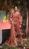 EMBROIDERED ORGANZA FRONT 0.8MTREMBROIDERED ORGANZA BACK 0.8MTREMBROIDERED ORGANZA SLEEVES 0.66MTREMBROIDERED SLEEVES MOTIFS 2PCEMBROIDERED NET DUPATTA 2.5YARDEMBROIDERED DUPATTA PALLU 2.25MTREMBROIDERED DUPATTA PATTI 5MTREMBROIDERED FRONT AND BACK BORDER 1.5MTREMBROIDERED SLEEVES BORDER 1MTRHAND EMBELLISHED...