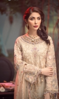 EMBROIDERED ORGANZA FRONT 0.8MTREMBROIDERED ORGANZA BACK 0.8MTREMBROIDERED ORGANZA SLEEVES 0.66MTREMBROIDERED NET DUPATTA 2.5YARDEMBROIDERED DUPATTA PATACH 4PCEMBROIDERED FRONT AND BACK BORDER 1.5MTREMBROIDERED SLEEVES BORDER 1MTRHAND EMBELLISHED NECKLINE 1PCEMBROIDERED TROUSER BORDER 1.2MTRDYED PLAIN...