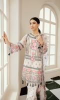 ORGANZA EMBROIDERED FRONT 0.8 MTRORGANZA EMBROIDERED BACK 0.8 MTRORGANZA EMBROIDERED SLEEVES 0.55 MTRORGANZA EMBROIDERED BORDER SLEEVES 0.99 MTRORGANZA EMBROIDERED NECK FRONT 2 PCSNET EMBROIDERED DUPATTA 1.98 MTRORGANZA EMBROIDERED...