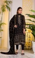 Embroidered Chiffon FrontEmbroidered Chiffon BackEmbroidered Chiffon Sleeves Embroidered Velvet ShawlRaw Silk Trouser