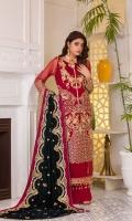Hand Embellished Embroidered Chiffon FrontEmbroidered Chiffon BackEmbroidered Chiffon SleevesEmbroidered Velvet ShawlRaw Silk Trouser