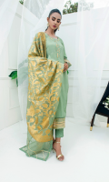 Silk fabric with traditional hand embroidery of gotta work. Sleeves and border are done with gotta work with zigzag laces. Beautiful stitching and hand work gives this ensemble an elegant look. Dupatta as is can be added.