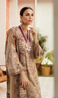 Front: 1 meter crinkle chiffon hand made + embroided  Back: 1 meter crinkle chiffon embroided  Sleeves: 0.75 meter crinkle chiffon embroided  Front/ Back border: 2 meter organza embroided  Sleeves border: 1 meter organza embroided  Dupatta: 2.5 meter crinkle chiffon embroided  Trouser: 2.5 meter grip
