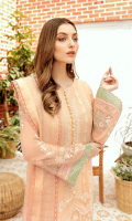 Front: 1 meter crinkle chiffon embroided  Back: 1 meter crinkle chiffon plain  Sleeves: 0.75 meter crinkle chiffon embroided  Front/Back border: 4 meter grip embroided (2 options)  Sleeves border: 2 meter grip embroided (2 options)  Dupatta: 2.5 meter zari organza embroided  Trouser: 2.5 meter grip