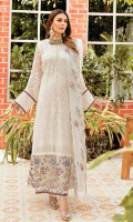 Front: 1.25 meter crinkle chiffon embroided  Back: 1.25 meter crinkle chiffon plain  Sleeves: 0.75 meter crinkle chiffon embroided  Front/Back border: 2.5 meter crinkle chiffon embroided  Front/ Back border: organza embroided  Sleeves border: 1 meter organza embroided (2 options)  Dupatta: 2.5 meter organza embroided  Trouser: 2.5 meter grip