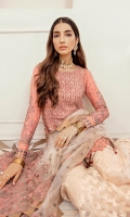 Embroidered Shirt Front 1 meter on Chiffon with handwork  Embroidered Shirt Back 1 meter on Chiffon  Embroidered Sleeves 0.75 meter on chiffon  Embroidered Sleeves Patch 1 meter on Grip  Embroidered Front and back Patch 2 meter on grip  Embroidered Dupatta 3 yard on net  Trouser 2.5 yard Jamawar