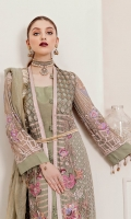 Embroidered and hand embellished Shirt Front 1 Yard on Chiffon  Embroidered Shirt Back 1.25 Yard on Chiffon  Embroidered Sleeves 0.75 yard on Chiffon  Embroidered side panels right left 0.35 yard on chiffon  Embroidered Front and back Patch 2 yard on organza  Embroidered front length patch 2.5 yard on organza  Duppata 2.5 yard  Trouser 2.5-yard rawsilk