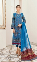 Embroidered Shirt Front 1 meter chiffon   Embroidered Shirt Back 1 meter chiffon  Embroidered Sleeves Patch meter on tissue  Embroidered Front and back Patch 2 meter on tissue  4 Embroidered Dupatta patch 2.5 Yard on embroidery  Embroidered Dupatta 2.5 yard Chiffon  Trouser 2.5 yard Silk