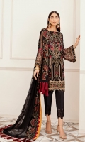 Embroidered Shirt Front 1 meter on chiffon          Embroidered Shirt Back 1 meter on chiffon  Embroidered Sleeves 0.75 meter on chiffon  Embroidered Dupatta 2.5 yard on chiffon  Embroidered trouser patch 1 yard on organza  Trouser 2.5-yard raw silk