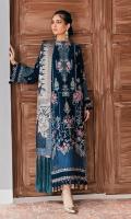FRONT: 1.5 Meter Velvet - Embroidered  BACK: 1.5 Meter Velvet - Embroidered  SLEEVES:  0.75 Meter Velvet - Embroidered  FRONT/ BACK/ CHAK/ SLEEVES/ TROUSER BORDER: 11 Meter Velvet - Embroidered  DUPATTA: 2.5 Meter Jamawar  TROUSER'S: 2.5 Raw Silk