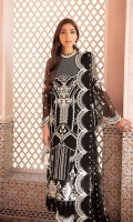 Front: (1 meter) crinkle chiffon embroidered Back: (1 meter) crinkle chiffon embroidered Front/Back border: (2 meter) embroidered organza Sleeves: (0.75 yard) crinkle chiffon embroidered Sleeves border: (1 meter) embroidered organza Dupatta: (2.5 yard) embroidered) crinkle chiffon Trouser: (2.5 yard) raw silk Trouser Border: (1 meter) embroidered organza