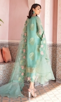 Front: (1 meter) crinkle chiffon embroidered Back: (1 meter) crinkle chiffon embroidered Front/Back border: (2 meter) embroidered organza Neckline: 1 piece embroidered patch Sleeves: (0.75 yard) crinkle chiffon embroidered Sleeves border: (1 meter) embroidered organza Dupatta: (2.5 yard) embroidered net Trouser: (2.5 yard) raw silk  Trouser Border: (1 meter) embroidered organza