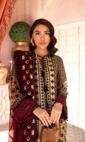 Front: (1 meter) crinkle chiffon embroidered Back: (1 meter) crinkle chiffon embroidered Front /Back border: (2 meter) embroidered grip Sleeves: (0.75 yard) crinkle chiffon embroidered Sleeves border: (1 meter) embroidered grip Dupatta: (2.5 yard) embroidered crinkle chiffon Dupatta border: (7 meter) embroidered grip border Trouser: (2.5 yard) raw silk