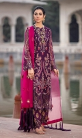 FRONT: 1 Meter Crinkle Chiffon - Embroided  BACK: 1 Meter Crinkle Chiffon - Embroided  SLEEVES: 0.75 Meter Crinkle Chiffon - Embroided  FRONT/ BACK BORDER: 2 Meter Organza - Embroided  SLEEVES/ TROUSER BORDER: 2 Meter Organza - Embroided  DUPATTA: 2.5 Meter Organza - Embroided  TROUSER: 2.5 Meter Raw Silk - Block Print