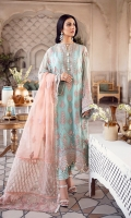 FRONT: 1 Meter Crinkle Chiffon - Embroided  BACK: 1 Meter Crinkle Chiffon - Embroided  SLEEVES: 0.75 Meter Crinkle Chiffon - Embroided  NECKLINE: 1 Patch - Embroided  FRONT/ BACK BORDER: 2 Meter Organza - Embroided  FRONT/ BACK/ SLEEVES BORDER: 3 Meter Organza - Embroided  DUPATTA BORDER:  OPTION 1: 2.5 Meter Organza  OPTION 2: 2.5 Meter Organza  DUPATTA BORDER FOUR SIDED: 6 Meter Organza - Embroided  TROUSER: 2.5 Meter Raw Silk  TROUSER PATCH: 1 Meter Organza - Embroided
