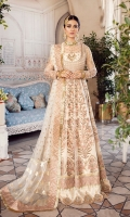 FRONT/ BACK YOKE: 0.75 Meter Net - Embroided  PANNELS: Net - Quantity - 14 - Embroided  FROCK BORDER: 4.5 Meter Organza - Embroided  SLEEVES: 0.75 Meter - Embroided  SLEEVES BORDER: 1 Meter Organza - Embroided  DUPATTA: 2 Meter Net - Embroided  DUPATTA BORDER: 1.25 Meter Jamawar - 2 Sided  DUPATTA BORDER FOUR SIDED: 7.5 Meter Organza - Embroided  TROUSER: 2.5 Meter Jamawar  TROUSER BORDER: 1 Meter - Embroided