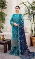 FRONT: 1 Meter Crinkle Chiffon - Embroided  BACK: 1 Meter Crinkle Chiffon - Embroided  SLEEVES: 0.75 Meter Crinkle Chiffon - Embroided  FRONT/ BACK PATCH: 2 Meter Organza - Embroided  SLEEVES BORDER: 1 Meter Organza - Embroided  DUPATTA: 2.5 Meter Net - Embroided  DUPATTA BORDER: 2.5 Meter Organza - Embroided  TROUSER: Raw Silk - Block Print