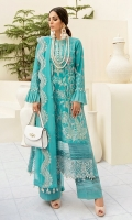 Front: (1meter) Lawn embroidered Back: (1 meter) lawn embroidered Front/Back border: (2 meter) embroidered organza Sleeves: (0.75 meter) Lawn embroidered Sleeves border: (1 meter) embroidered organza Dupatta: (2.5 meter) embroidered crinkle chiffon Trouser: (2.5 meter) cotton