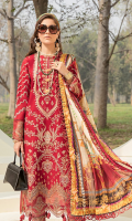 Front: (1 meter) Lawn embroidered Back: (1 meter) Printed lawn Front/Back border: (2 meter) embroidered organza Sleeves: (0.75 yard) Lawn embroidered Sleeves border: (1 meter) embroidered organza Dupatta: (2.5 meter) Printed medium silk Trouser: (2.5 meter) cotton