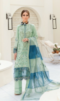 Front: (1meter) Lawn embroidered Back: (1 meter) lawn embroidered Front/Back border: (2 meter) embroidered organza Sleeves: (0.75 meter) Lawn embroidered Sleeves border: (1 meter) embroidered organza Dupatta: (1.25yards) embroidered mint green organza Dupatta: (1.25yards) embroidered zinc organza Trouser: (2.5 meter) cotton