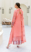 Front: (1 meter) Lawn embroidered Back: (1.25 yard) Lawn embroidered 1: Front/Back border: (2 meter) embroidered organza 2: Front /Back border: (2 meter) embroidered organza Sleeves: (0.75 yard) Lawn embroidered Sleeves border: (1 meter) embroidered organza Dupatta: (2.5 yard) embroidered crinkle chiffon Trouser: (2.5 meter) cotton
