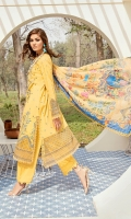 Front: (13inches) Lawn embroidered  Side Kalli:( 13inches) two pieces Lawn embroidered  Back: (1 meter meter) lawn embroidered  Front/Back border: (2 meter) embroidered organza  Sleeves: (0.75 yard) Lawn embroidered  Sleeves border: (1 meter) embroidered organza  Dupatta: (2.5 meter) Printed medium silk  Trouser: (2.5 meter) cotton