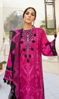 Front: (1meter) Lawn embroidered Back: (1.25yard) lawn embroidered Front/Back border: (2 meter) embroidered silk Neckline: 1 piece embroidered silk Sleeves: (0.75 yard) Lawn embroidered Sleeves border: (1 meter) embroidered silk Dupatta: (2.5 meter) embroidered crinkle chiffon Trouser: (2.5 meter) cotton