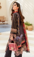 Front: (26 inches) Lawn embroidered Front kalli: (6.5inches) two pieces Back: (1 meter) Printed lawn 1: Front/Back border: (2 meter) embroidered organza 2: Front /Back border: (2 meter) embroidered organza Sleeves: (0.75 yard) Lawn embroidered Sleeves border: (1 meter) embroidered organza Dupatta: (2.5 meter) Printed medium silk Trouser: (2.5 meter) cotton