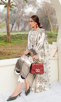 Front: (1meter) Lawn embroidered Back: (1 meter) lawn embroidered Front/Back border: (2 meter) embroidered organza Sleeves: (0.75 yard) Lawn embroidered Sleeves border: (1 meter) embroidered organza Dupatta: (2.5 yards) embroidered crinkle chiffon Trouser: (2.5 meter) cotton
