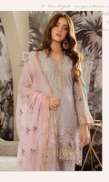 Embroidered chiffon for front: 1 yard Embroidered chiffon for back: 1 yard Embroidered chiffon for sleeves: 0.75 yards Embroidered border patch for back & front: 2 yard Embroidered patch for sleeves: 1 yard Embroidered Chiffon dupatta: 2.75 yards Embroidered patch for sleeves: 1 yard Trousers: 2.5 yards