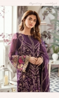 Embroidered chiffon for front: 1 yard Embroidered chiffon for back: 1 yard Embroidered chiffon for sleeves: 0.75 yards Embroidered chiffon for front neck patch: 1 yard Embroidered border patch for back & front: 2 yard Embroidered Chiffon dupatta: 2.75 yards Embroidered patch for sleeves: 1 yard Trousers: 2.5 yards