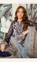 Embroidered chiffon for front center panel: 13 inch Embroidered chiffon for side panels: 2 pcs Embroidered chiffon for back: 1 yard Embroidered chiffon for sleeves: 0.75 yard Embroidered Organza border for sleeves: 1 yard Embroidered Net for dupatta: 2.75 yard Embroidered trouser patch: 1 yard Trousers: 2.50 yard Embroidered border patch for back: 1 yard