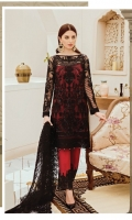 Embroidered Net for front: 1 yard  Embroidered organza border for front: 1 yard  Embroidered net for back: 1 yard  Embroidered organza border for back & trousers: 2 yards  Embroidered net for sleeves: 0.75 yards  Embroidered organza 2 inches border for sleeves: 1 yard  Embroidered net for dupatta: 2.75 yards  Raw silk for trousers: 2.50 yards