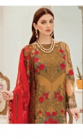 Embroidered chiffon for front: 1 yard  Embroidered organza border for front: 1pcs  Embroidered chiffon for back: 1 yard  Embroidered organza border for back: 1 yard  Embroidered chiffon for sleeves: 0.75 yard  Embroidered organza border for sleeves & trousers: 2.50 yards  Embroidered chiffon for dupatta: 2.75 yards  Raw silk for trousers: 2.50 yards