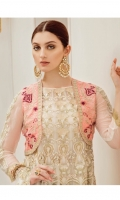 Embroidered chiffon for front & back panels: 10 pcs  Embroidered silk for jacket: 0.75 yard  Embroidered organza border for front & back: 3.25 yards  Embroidered chiffon for sleeves: 0.75 yard  Embroidered chiffon for dupatta: 2.75 yards  Raw silk for trousers: 2.50 yard